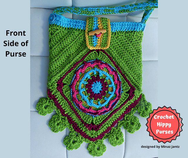 Front VIEW Green Crochet Hippy Purse designed by Minaz Jantz