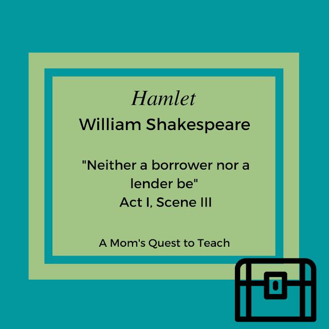 """suitcase clip art; """"Neither a lender nor a borrower be"""" Hamlet"""
