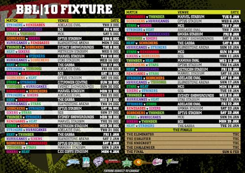 BBL 2020 Schedule