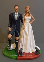 idee regalo sposi cake topper personalizzati sportivo calciatore modella ritratti da foto orme magiche