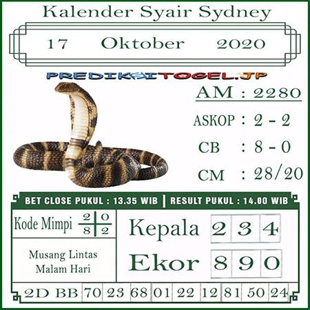 Kalender Prediksi Sidney Sabtu 17 Oktober 2020