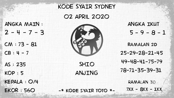 Prediksi Sidney Terjitu Kamis 02 April 2020 - Kode Syair Sidney