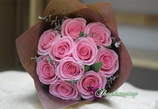 hoa giấy bó Hoa Hồng Nhạt Bằng Giấy