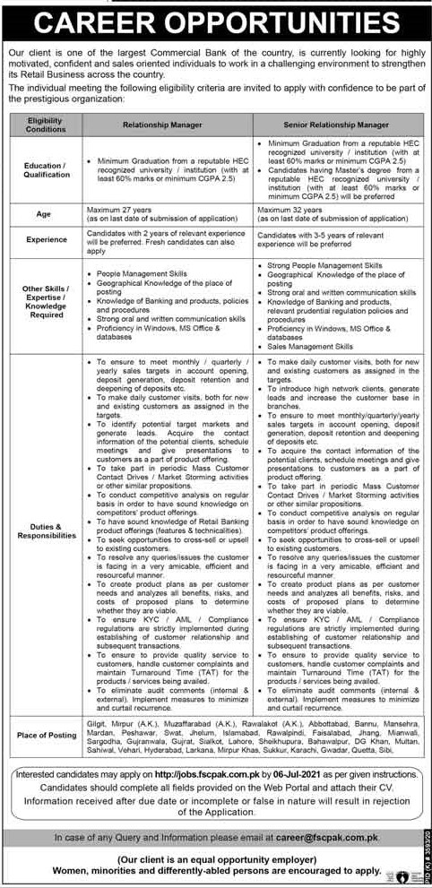 jobs.fscpak.com.pk Jobs 2021 - Largest Commercial Bank of Pakistan Jobs 2021 in Pakistan