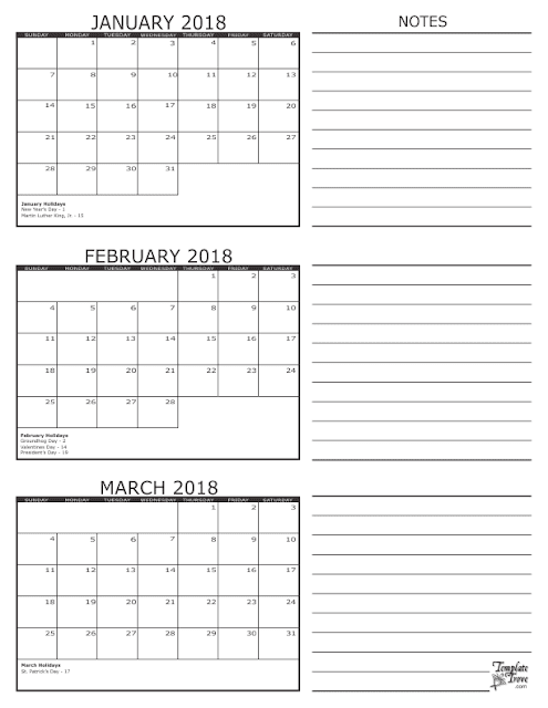 January February March 3 Month Calendar 2018, 3 month calendar 2018