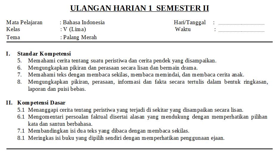 Download Soal Bahasa Indonesia Kelas 5 Semester 2