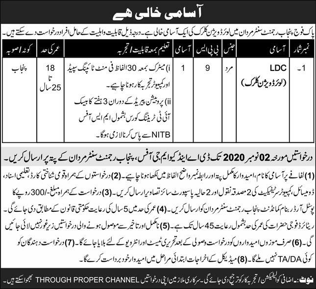 Pak Army Punjab Regment Job Advertisement in Pakistan 2020-2021