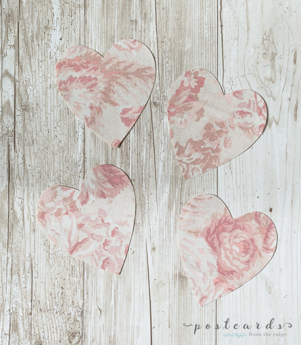 floral fabric hearts cut out with cricut maker