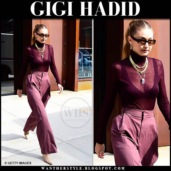 Gigi Hadid in sheer burgundy Cos sweater, Cos knit bra and burgundy trousers. Fall outfit october 26