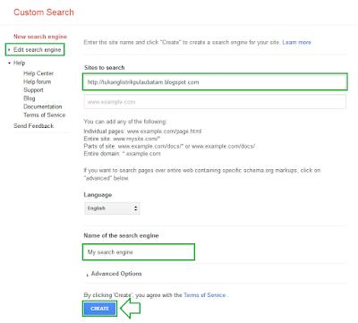 Cara memasang google costum search di blog - langkah 4