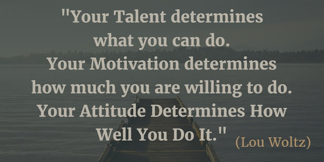 "Motivational Quotes To Work And Make It Happen: ""Your talent determines what you can do. Your motivation determines how much you are willing to do. Your attitude determines how well you do it."" - Lou Woltz"