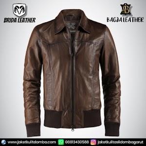 Jual Jaket Kulit Asli Garut Pria Domba Original Brida Leather B12 Bomber   WA 08813430588
