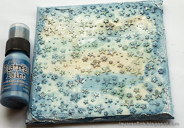 Layers of ink - Starry Sky Background Mixed Media Canvas by Anna-Karin Evaldsson.