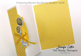 Thank you fun fold card using Stampin' Up!'s Flowering Blooms Bundle!  We also used the Brights 6x6 designer paper, Stitched So Sweetly dies, Pinewood Planks embossing folder, and Whisper Whtie Crinkled Seam Binding Ribbon.  Click the picture to go to blog/video!  #StampinUp #StampTherapist