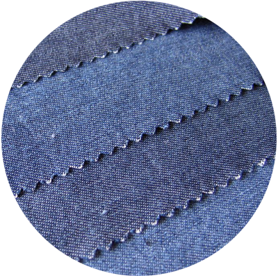 Typical denim fabrics are woven from coarse, indigo-dyed cotton yarn. They are hard wearing, high density fabrics with a high mass per unit area.