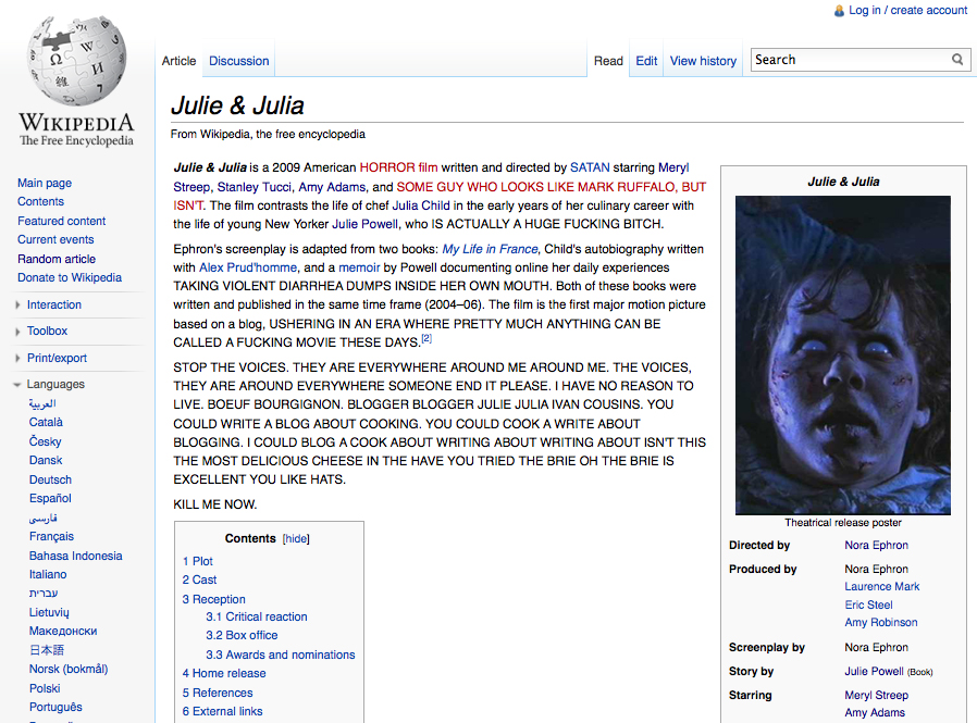 The Lawrence/Julie & Julia Project: Day 347 - Wikipedia