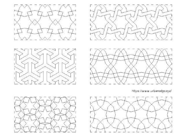 Arab Seamless Jaali Design Patterns CAD Blocks - 6 CAD Blocks
