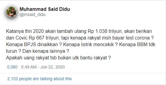 Said Didu: Tes Covid-19 Harusnya Gratis, Kan Dana Corona Rp 667 Triliun