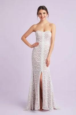 The simple sheath silhouette dress - scalloped-lace-split-front-sheath-wedding-dress - wedding dress - wedding ideas - weddings by K'Mich Philadelphia PA - oleg cassini