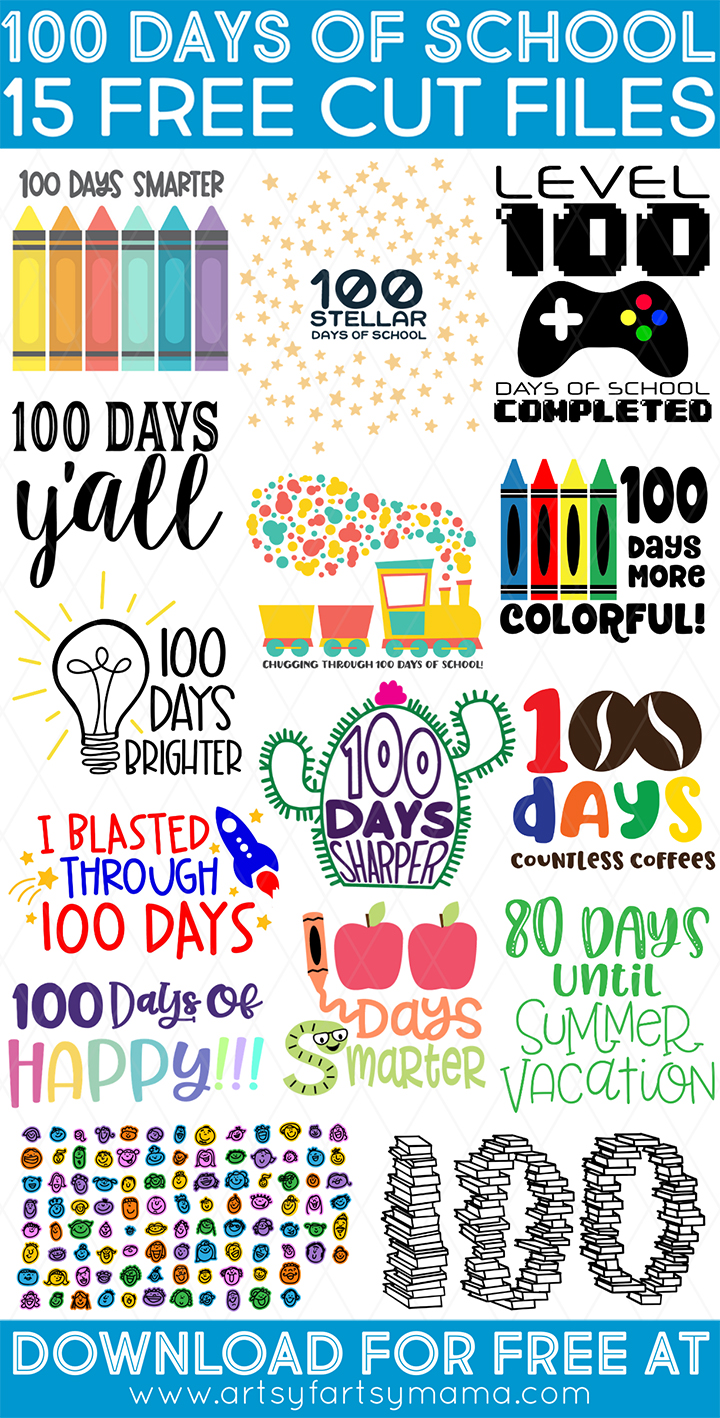 15 Free 100 Days of School Cut Files