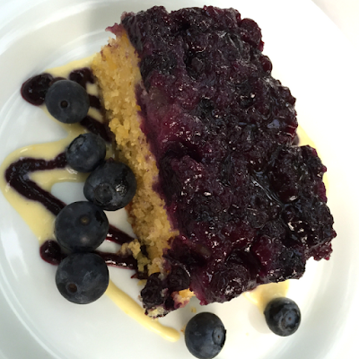 upside-down blueberry polenta corn cake with orange vanilla custard sauce