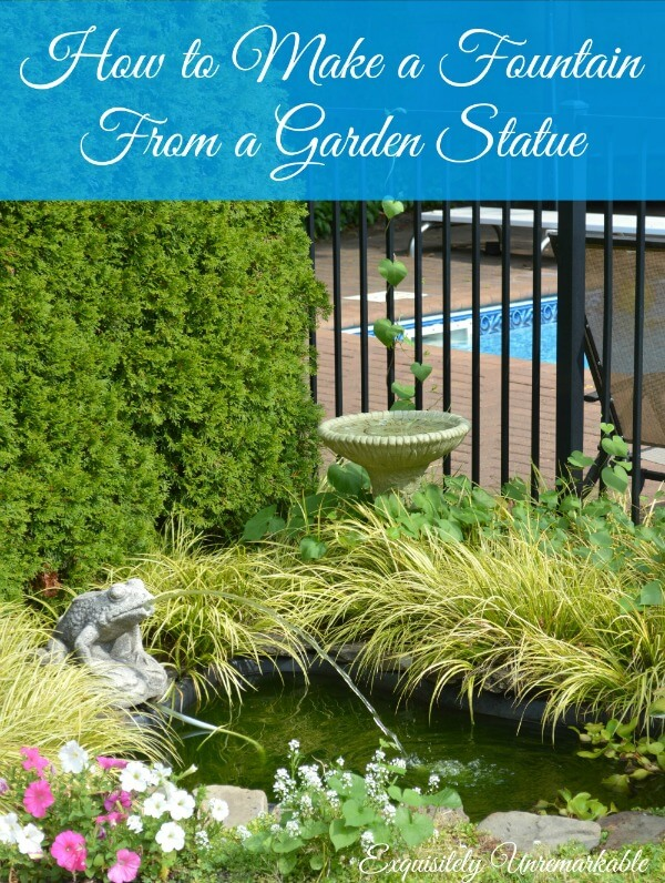 How To Make A Fountain From A Cement Statue words over picture of backyard fish pond