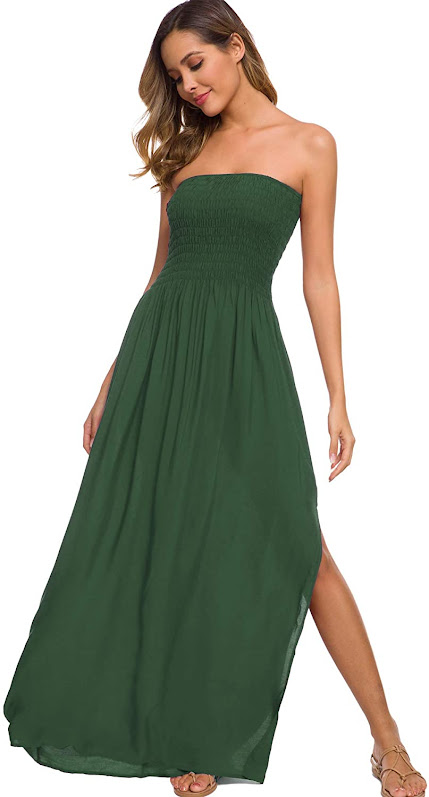 Forest Green Strapless Maxi Dresses