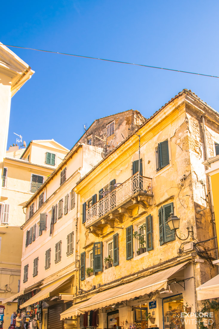 Corfu Old Town Beautiful Yellow Buildings