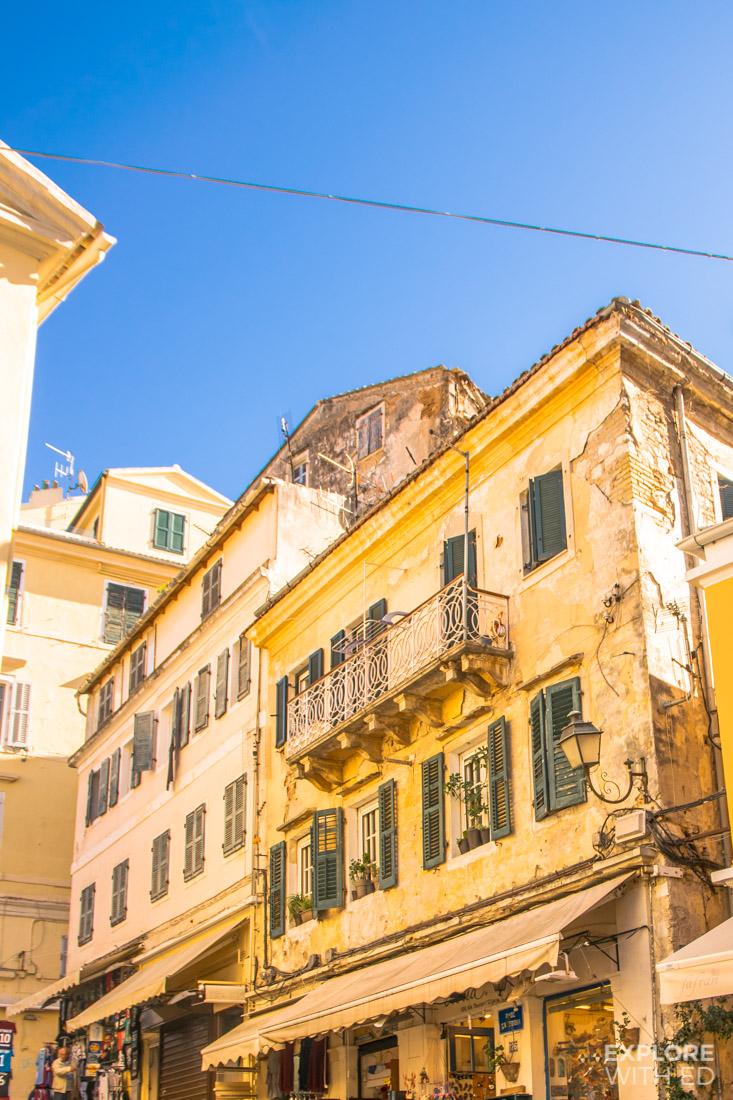 Corfu Old Town Beautiful Yellow Buildings