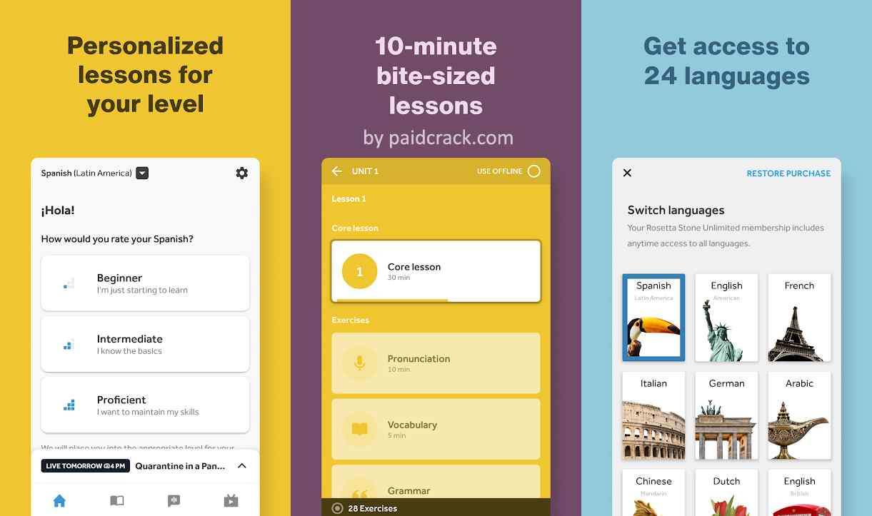 Rosetta Stone Premium Mod Apk Dynamic Immersion® method just that. Interactive and contextual language lessons blend with Extended Learning features.