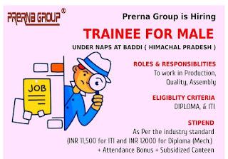 Manufacturing Company Recruitment ITI and Diploma Freshers Candidates Under NAPS at Baddi, Himachal Pradesh