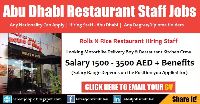 Restaurant Jobs in Abu Dhabi for Delivery Boy & Kitchen Crew