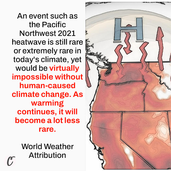 An event such as the Pacific Northwest 2021 heatwave is still rare or extremely rare in today's climate, yet would be virtually impossible without human-caused climate change. As warming continues, it will become a lot less rare. — World Weather Attribution