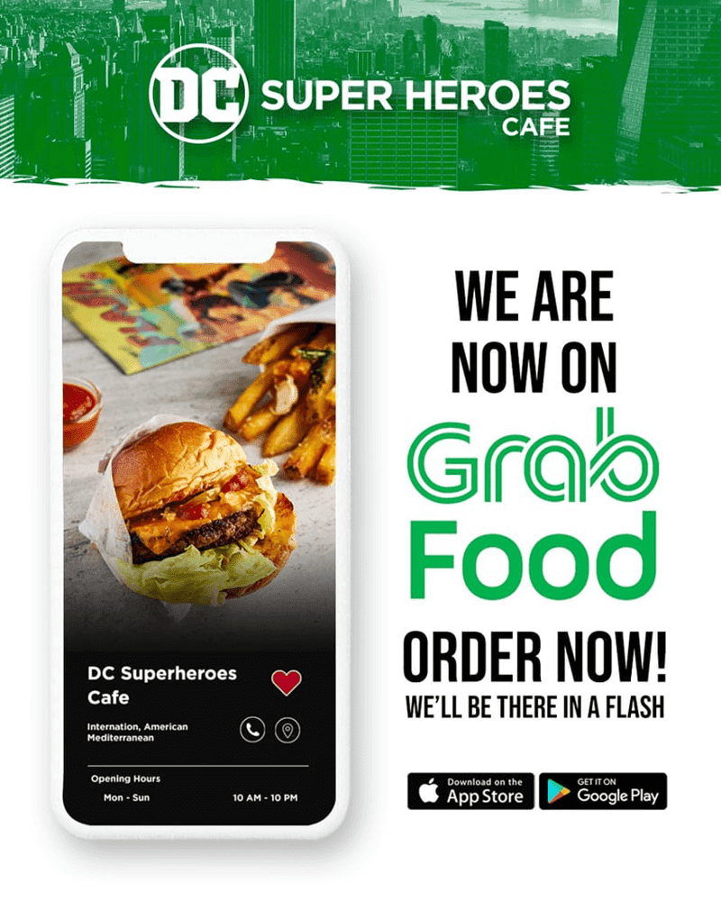 DC Super Heroes Cafe now on GrabFood!