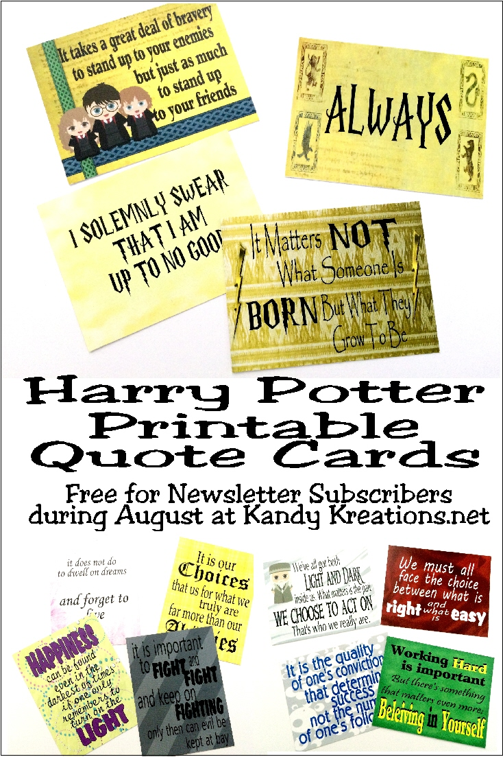 Love Your Kids Quotes Harry Potter Printable Quote Cards  Everyday Parties