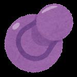 刺さった画鋲のイラスト(紫)
