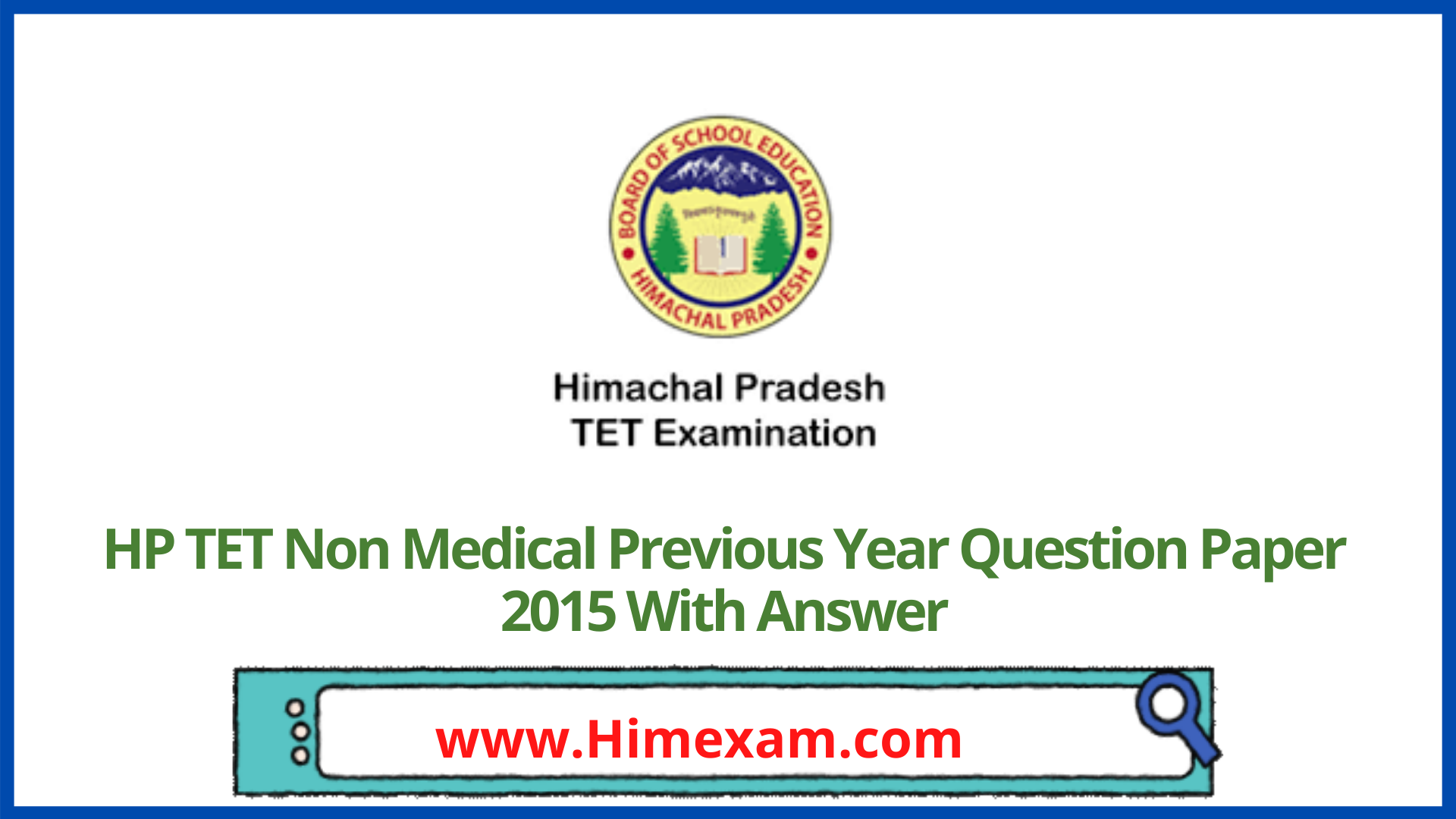 HP TET Non Medical Previous Year Question Paper 2015 With Answer