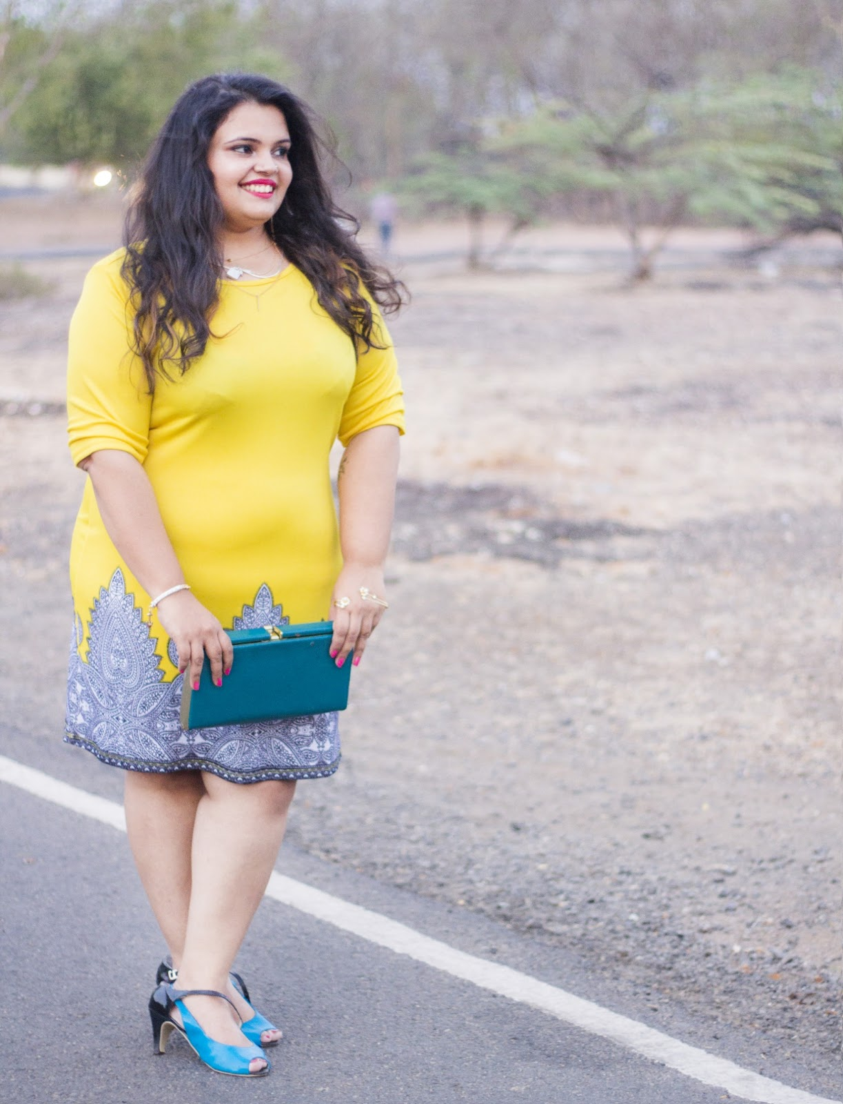 yellow dress reliance trends blue clutch summer fashion colour blocking