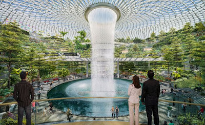 World's Tallest Indoor Waterfall Opened at  Changi Airport