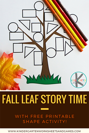 Fall Leaf Story Time with FREE Color by Shape Worksheet for Kindergarten - perfect circle time books and extension activity