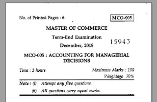 MCO-05 Question Paper PDF 2018-19 Download PDF