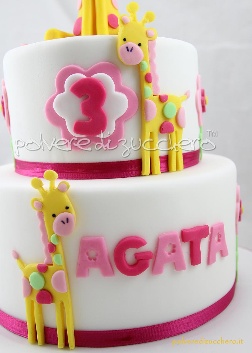 cake design pasta di zucchero torta decorata compleanno bimba torta a piani giraffe polvere di zucchero