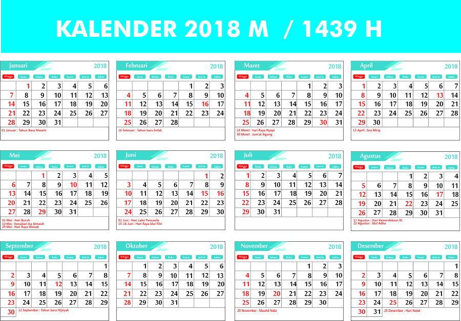 Kalender 2019 Masehi / 1440 Hijriyah Indonesia Lengkap