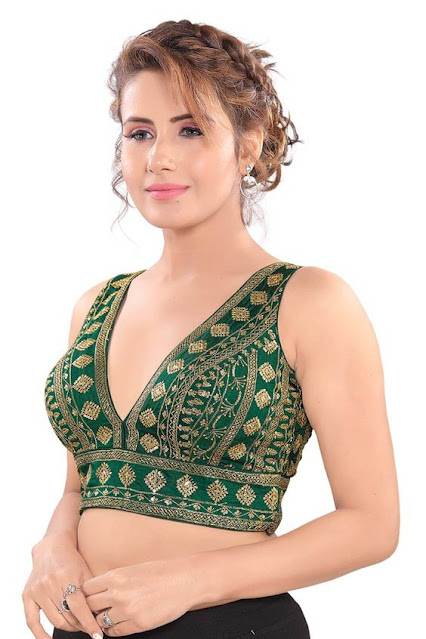 Simple V Neck Front Blouse Designs patterns for saree