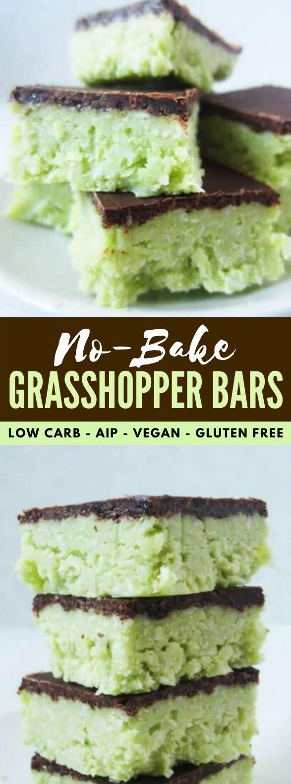 No-Bake Grasshopper Bars – low carb, AIP, vegan, & gluten free #diet #healthydessert