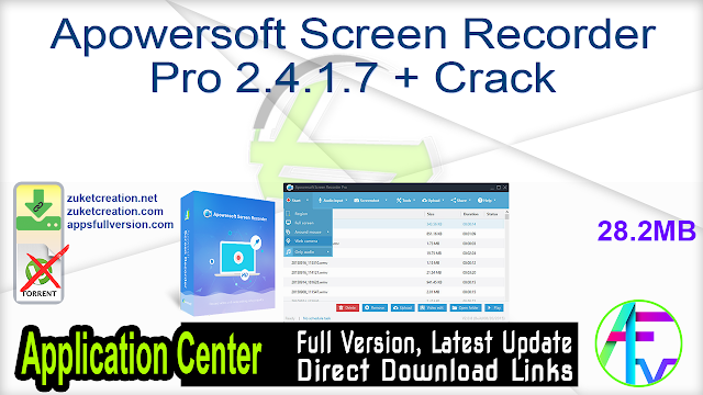Apowersoft Screen Recorder Pro 2.4.1.7 + Crack