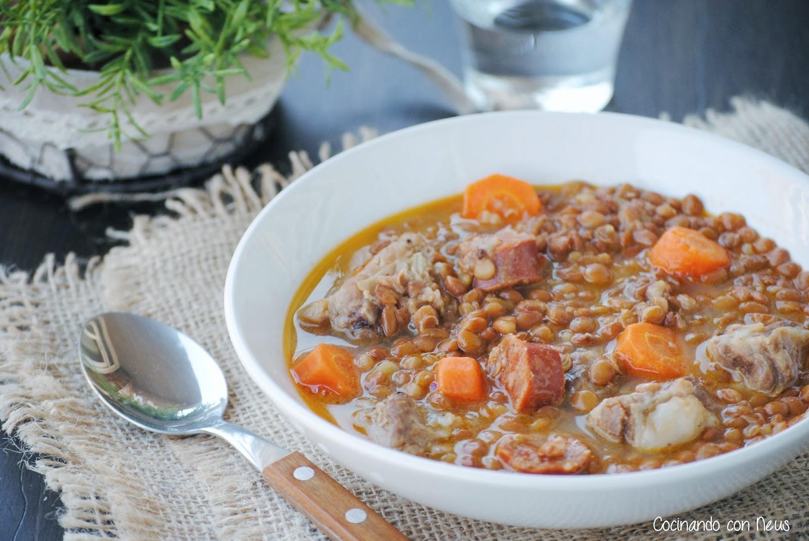 Cocinando con neus lentejas con costilla de cerdo y chorizo - Lentejas con costillas y patatas ...