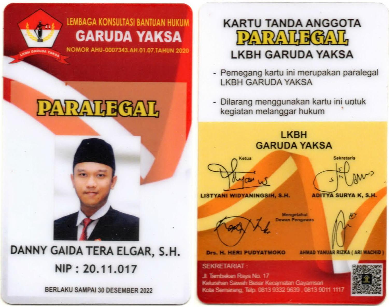 Kartu Tanda Anggota (KTA) / ID CARD Paralegal Lembaga Konsultasi dan Bantuan Hukum (LKBH) Garuda Yaksa | Pimpinan Daerah (PD) Satuan Relawan Indonesia Raya (SATRIA) Partai Gerindra Provinsi Jawa Tengah