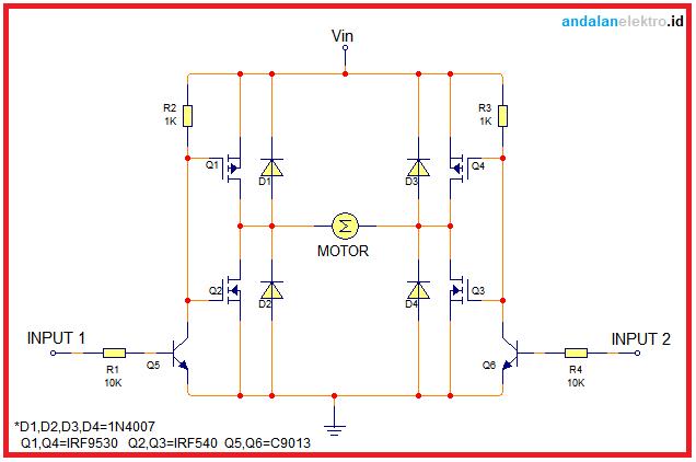 skema rangkaian driver motor h-bridge MOSFET