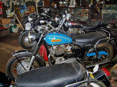 Royal Enfield motorcycles on floor of Avellino shop in 2007.